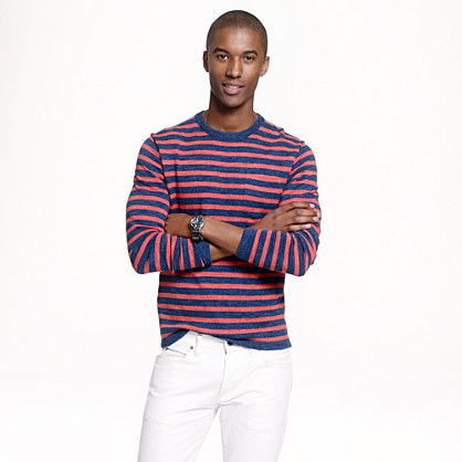 Cotton beach sweater in heather pepper stripe