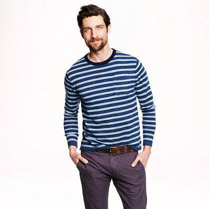 Cotton beach sweater in heather oasis stripe