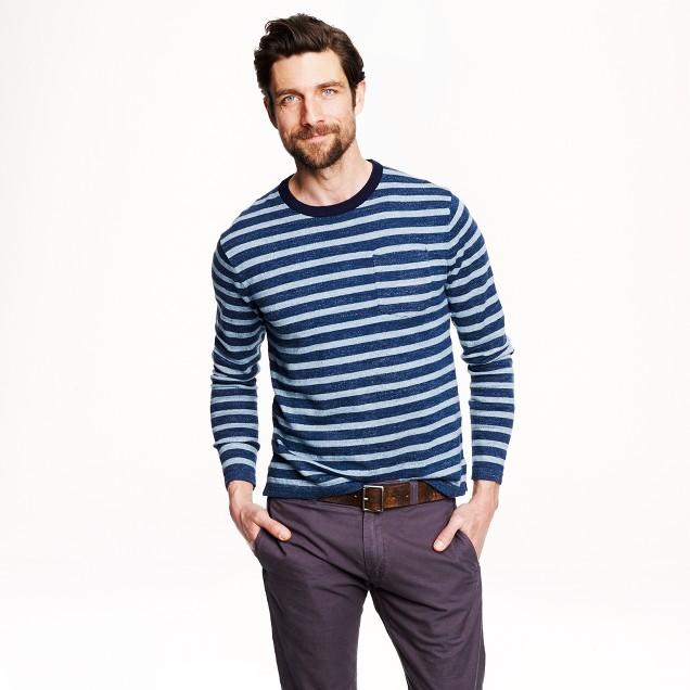 Cotton beach sweater in heather oasis stripe