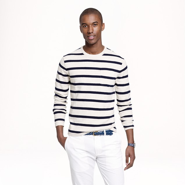 Cotton beach sweater in navy stripe