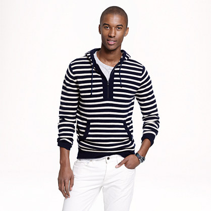 Cashmere half-zip hoodie in nautical stripe