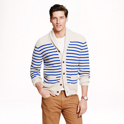 Cashmere shawl cardigan sweater in nautical stripe