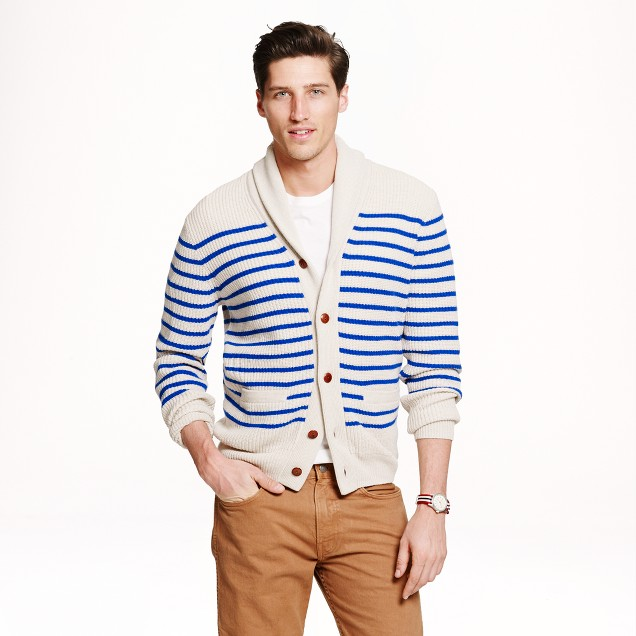 Cashmere shawl cardigan sweater in nautical stripe