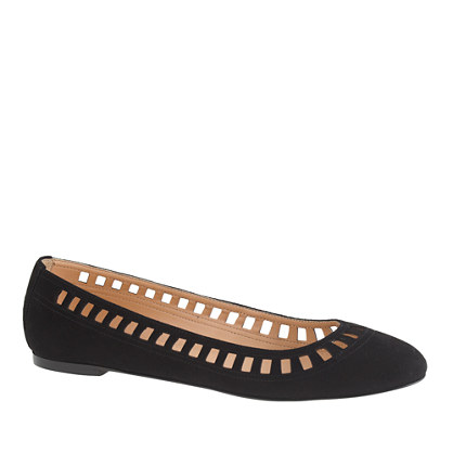Nora suede lattice ballet flats