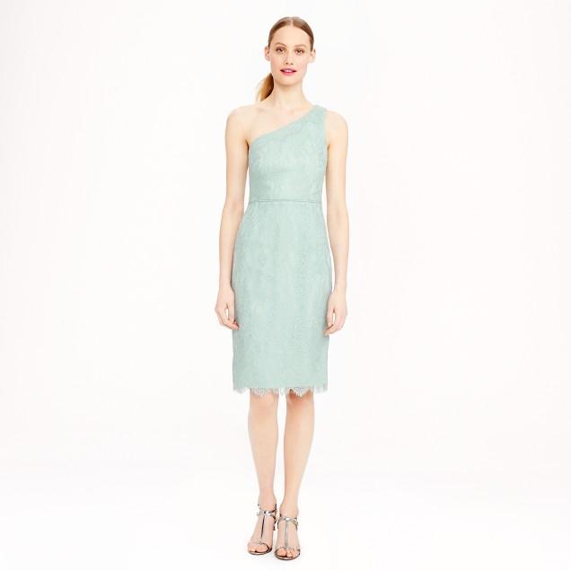 Metallic lace one-shoulder dress