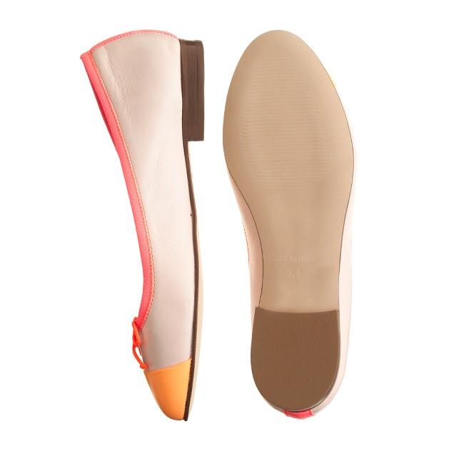 Girls' leather cap toe ballet flats