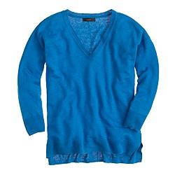 Linen V-neck sweater in yarn dye