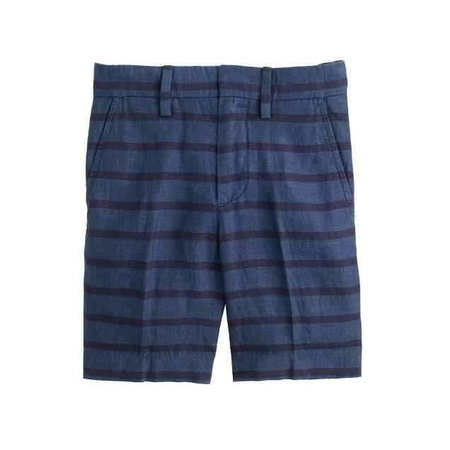 Boys' Irish linen club short in tonal stripe