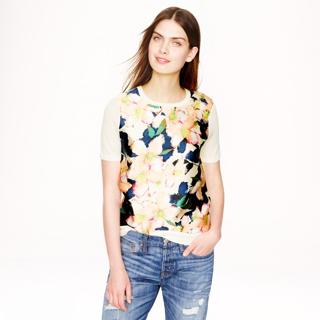 Merino wool silk-panel sweater in cove floral