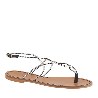 Woven leather gladiator sandals