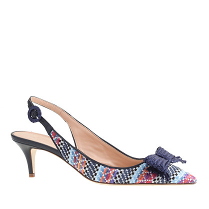 Collection Dulci raffia slingback kitten heels