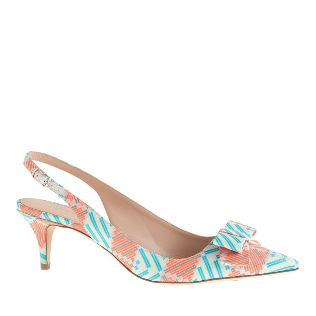 Collection Dulci fabric slingback kitten heels