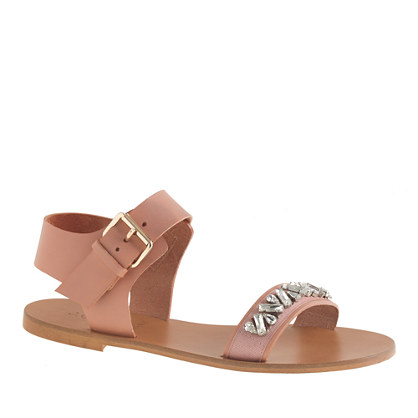 Ankle-strap jeweled sandals