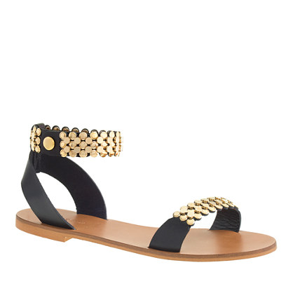 Metal link ankle-strap sandals