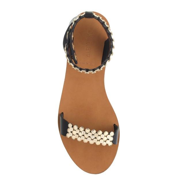 Metal link ankle-strap sandals