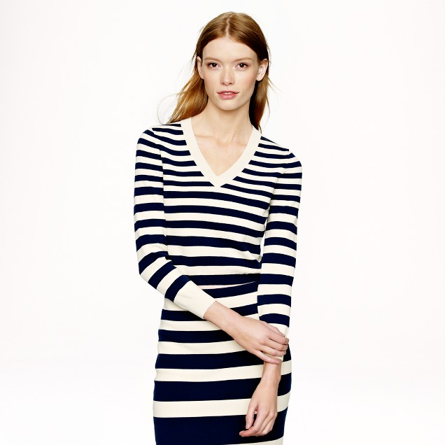 Collection cropped stripe v-neck sweater