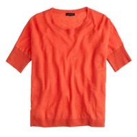 Linen drop-shoulder swing sweater in yarn dye