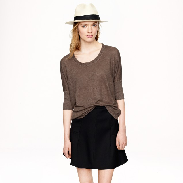 Linen drop-shoulder swing sweater in garment dye