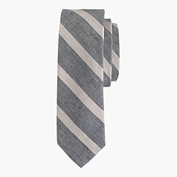 Linen-cotton tie in textured stripe