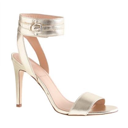 Metallic leather ankle-cuff sandals