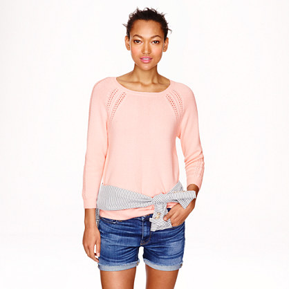 Collection cashmere open-stitch raglan sweater