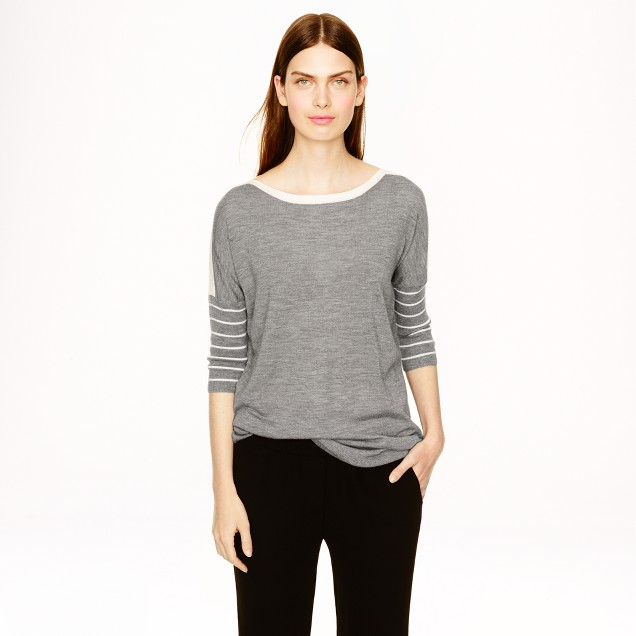 Collection cashmere drapey boatneck sweater in stripe