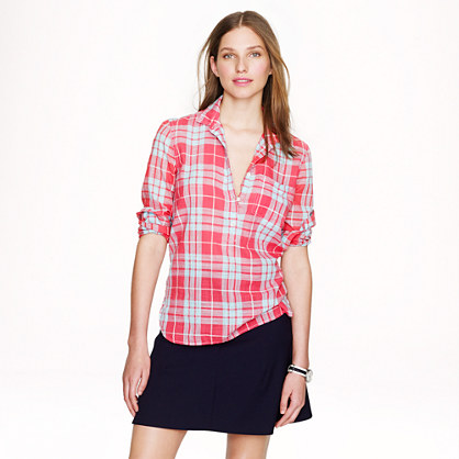 Gauze popover in red plaid