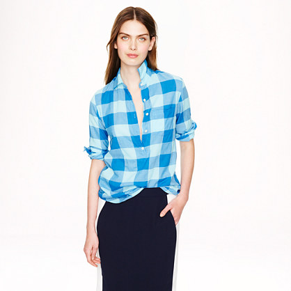 Popover in blue buffalo check