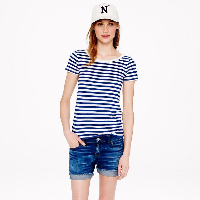 Vintage cotton scoopneck T-shirt in stripe
