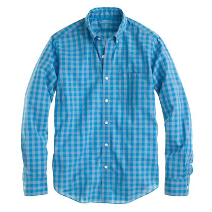 Slim lightweight shirt in azure gingham