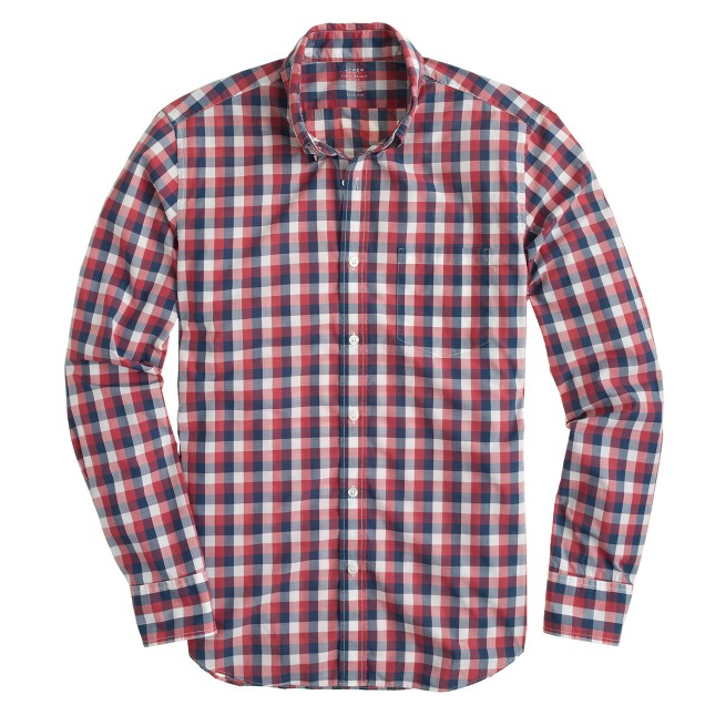 Slim lightweight shirt in blue gingham