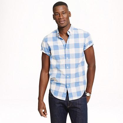 Short-sleeve vintage oxford shirt in gingham