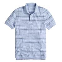 Textured cotton polo in peri stripe