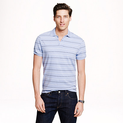 Textured cotton polo in peri stripe