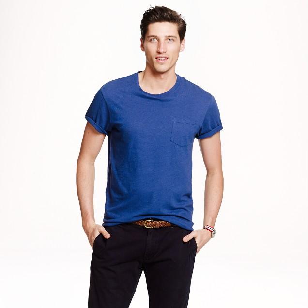 Cotton-linen pocket T-shirt