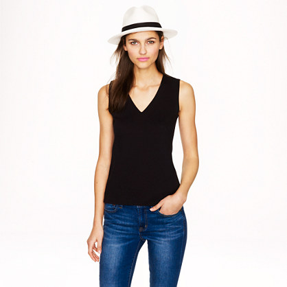 Structured V-neck shell