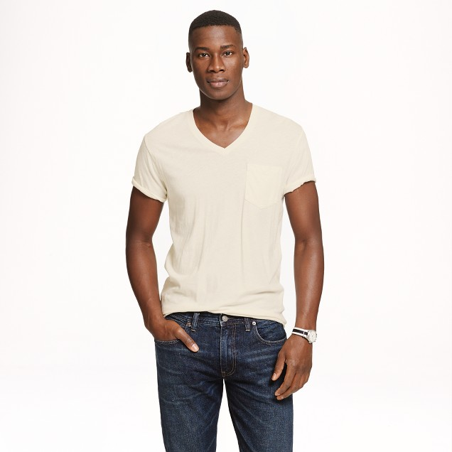Cotton-linen V-neck pocket T-shirt