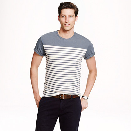 Cotton-linen T-shirt in blue whale stripe