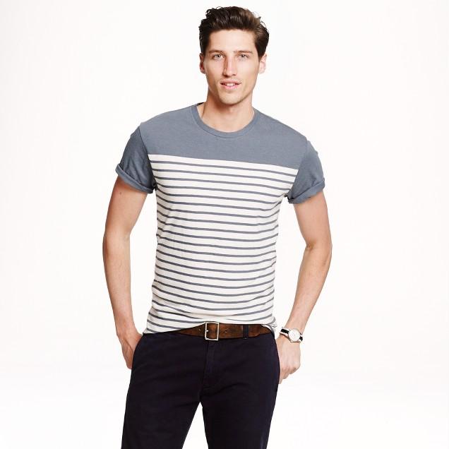 Cotton-linen T-shirt in blue whale stripe