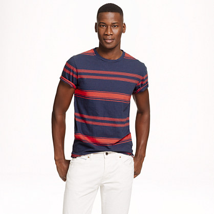Cotton-linen T-shirt in freeport blue stripe