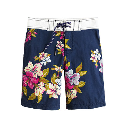 Boys' board short in tropical bouquet