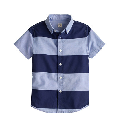 Boys' short-sleeve oxford cloth shirt in wide stripe