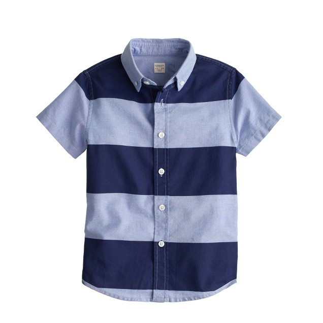 Boys' short-sleeve oxford cloth shirt in wide stripe
