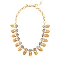Brass and crystal petal necklace