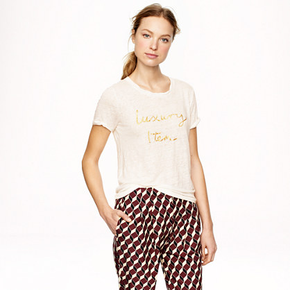 "Hugo Guinness for J.Crew ""luxury item"" linen T-shirt"
