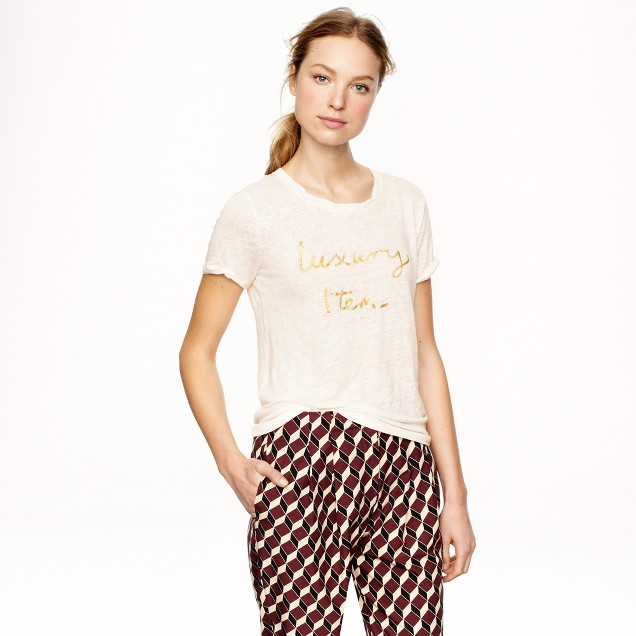 """Hugo Guinness for J.Crew """"luxury item"""" linen T-shirt"""