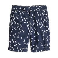 Boys' tab swim short in sailboat print
