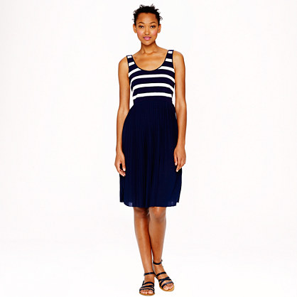 Pleated knit dress in stripe