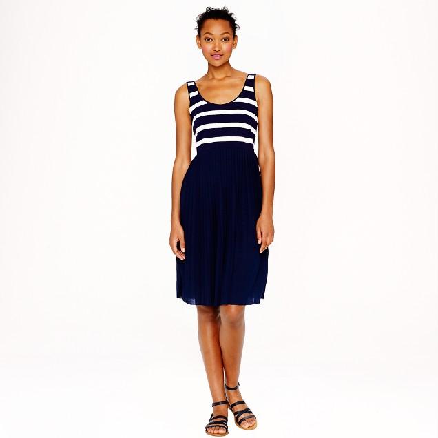 Pleated knit dress in stripe