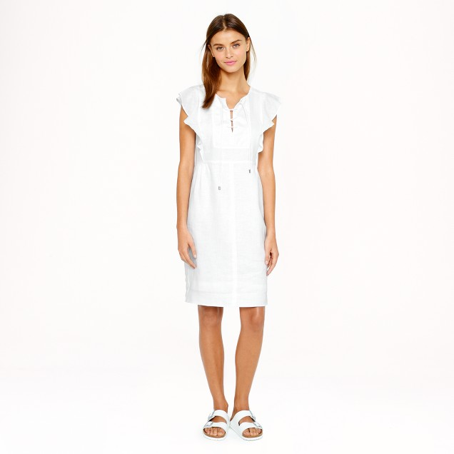 Lace-up dress in linen